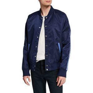 Slate & Stone Blue Nylon Bomber Jacket Snaps Small